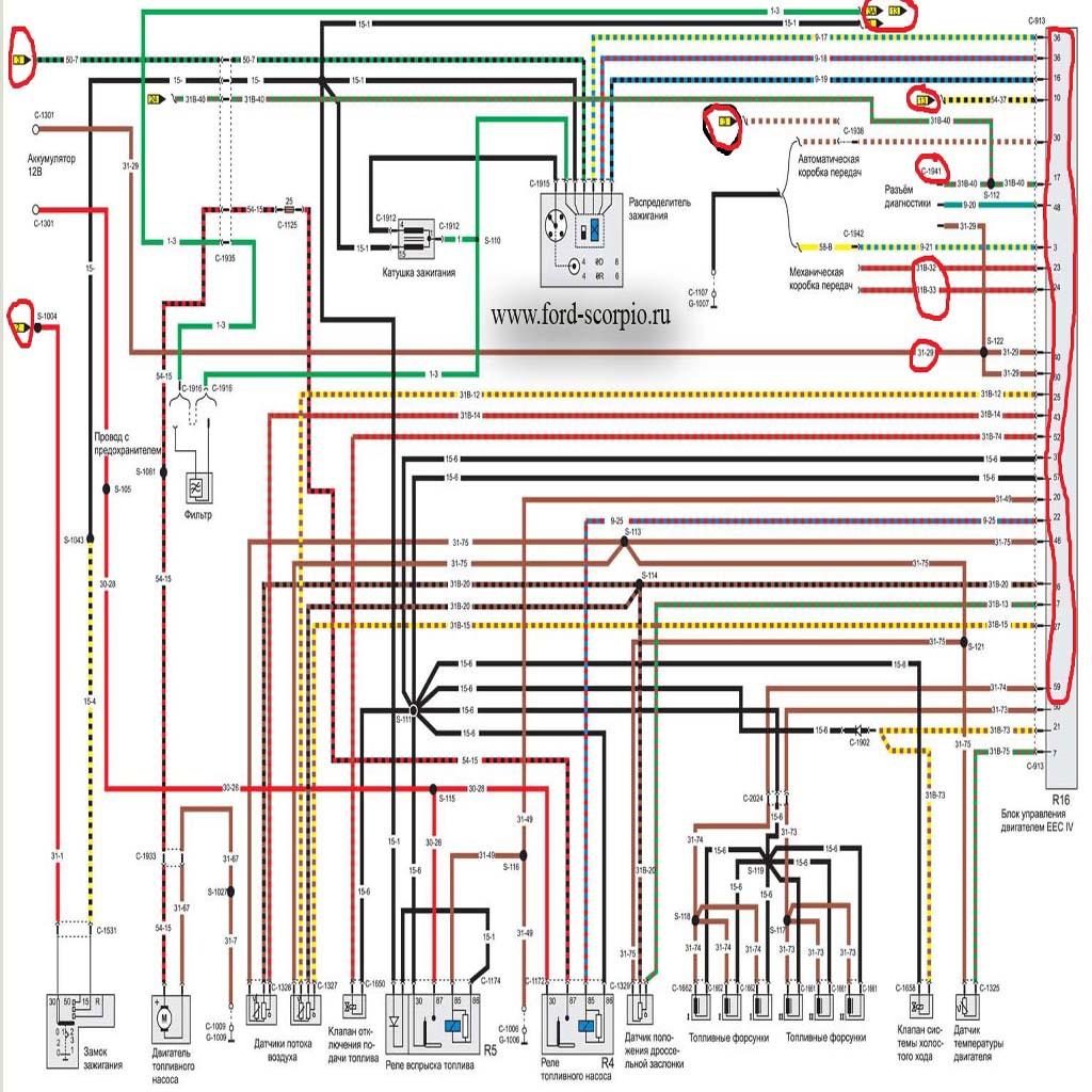 Форд скорпио схемы датчик уровня топлива